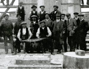 Sinkers at Harworth Colliery in 1914. On the board at the front it says England 1914.