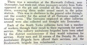 Report from the Colliery Guardian, dated 14th August 1914, on the arrest of German and Austrian sinkers at Harworth Colliery.