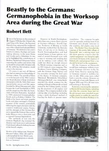 Robert Ilett's article on Germanophobia around Worksop Area during the Great War which appeared in the Nottinghamshire Historian No. 96 - Spring / Summer 2016.
