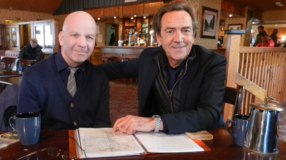 Dr David Amos assists Ilkeston-born Robert Lindsay for the filming of 'Living in 66'